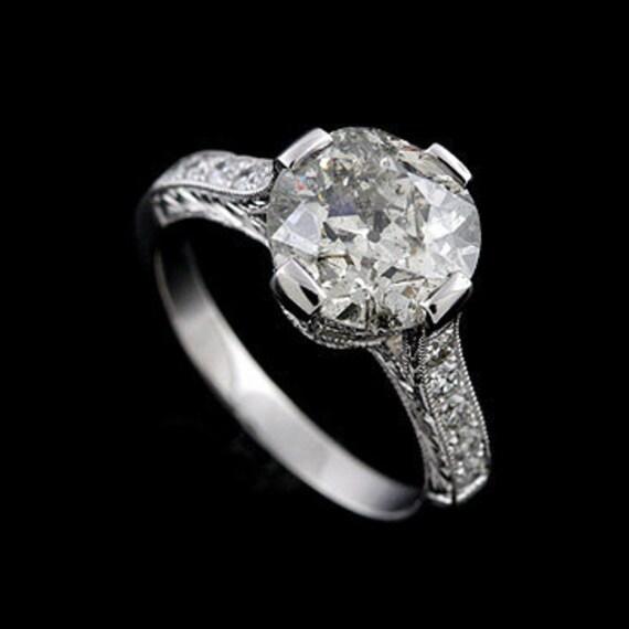 Platinum Art Deco Diamond Cathedral Style Engagement Ring Setting