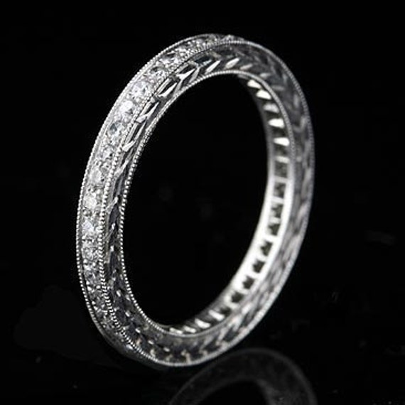 Vintage Style Platinum 1/2Ct Diamond Pave  Hand Engraved Eternity Band 2.1mm Wide