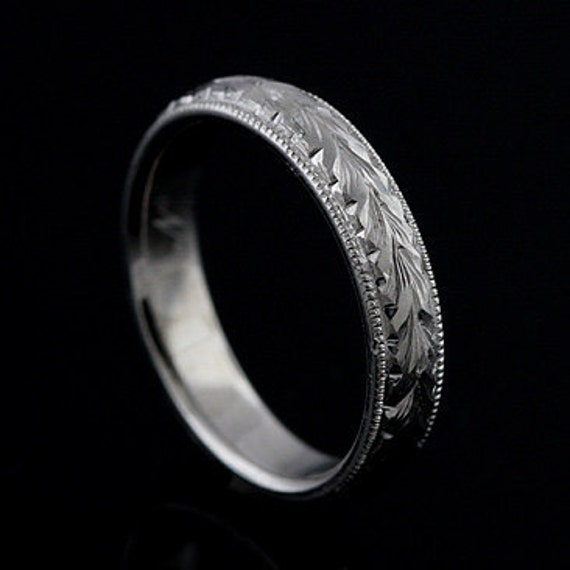 Rounded Hand Engraved Mens Wedding Ring Eternity