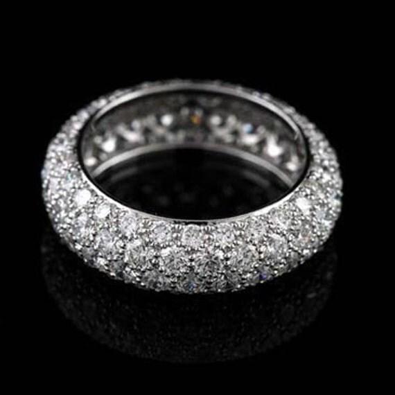Four Row Diamonds Eternity Diamond Wedding Ring, Dome Rounded Conflict Free Diamonds Women's Wedding Band, Micro Pave Multi Row Band