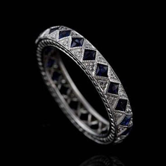 Diamond and Sapphire Art Deco Style Platinum Eternity Wedding Band 3.8mm Wide