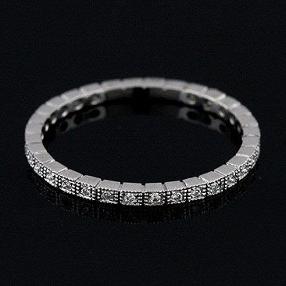 Platinum Art Deco Style Diamond Stackable Eternity Band Ring 1.4mm Wide