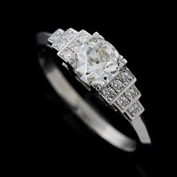 Platinum Antique Style Pave Set Diamond Engagement Ring Mounting Setting
