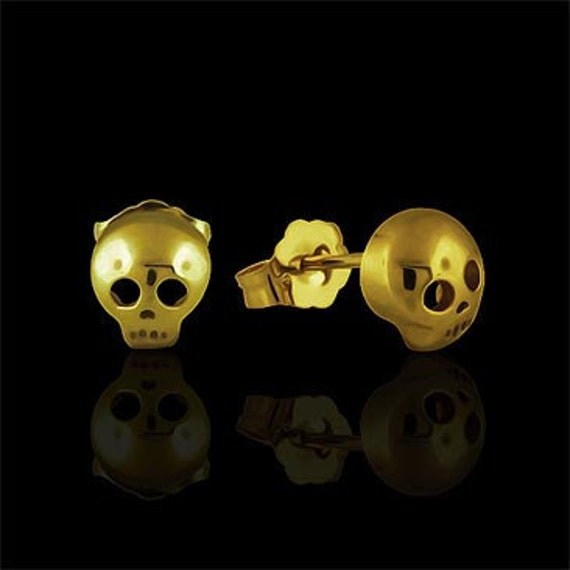 Designer Small Skull Studs Earrings 14K Yellow Gold