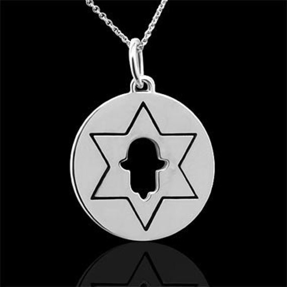 Star of David Hamsa Hand of God Silver Pendant