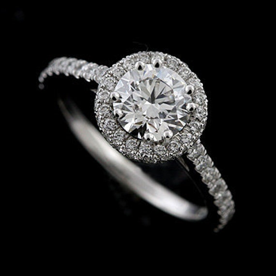 Halo Style Micro Pave Platinum Engagement Ring Mounting