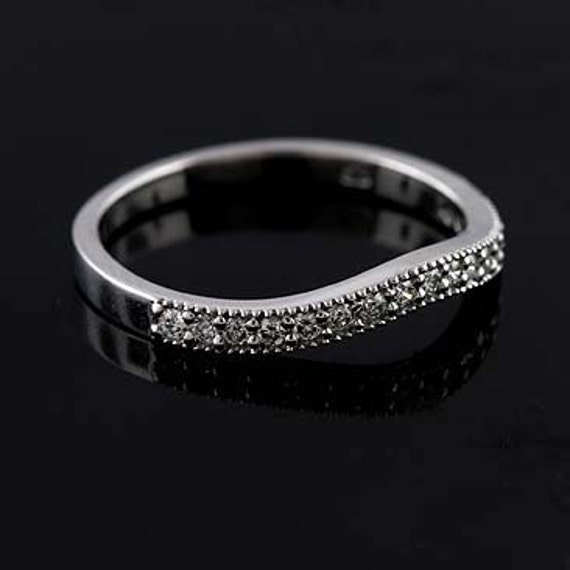 Platinum Milgrain Diamond Curved Band Ring Wrap Guard 2.1mm Wide
