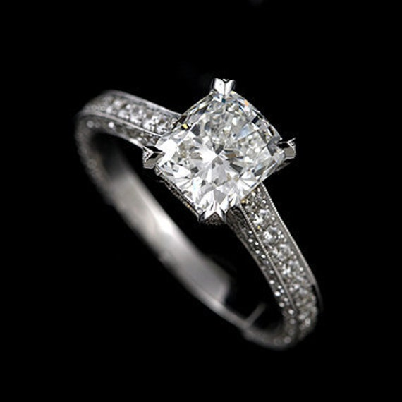 18K White Gold Vintage Cushion Cut Moissanite and Diamonds Engagement Ring