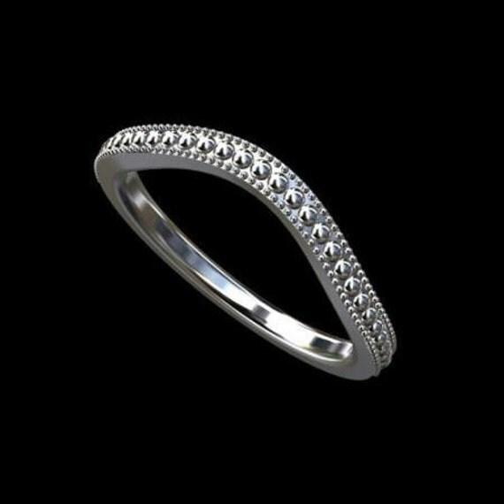 FINAL SALE 35% Off Platinum Curved Milgrain Wedding Band Ring