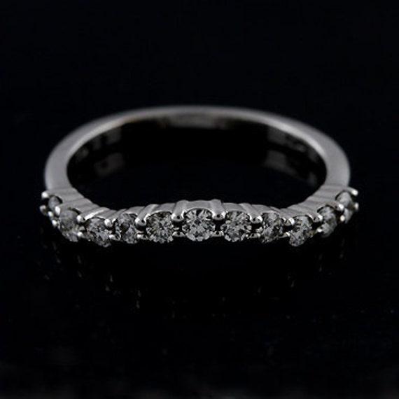 Diamond Curved Half Way Prong Set Wedding Band 14k White Gold