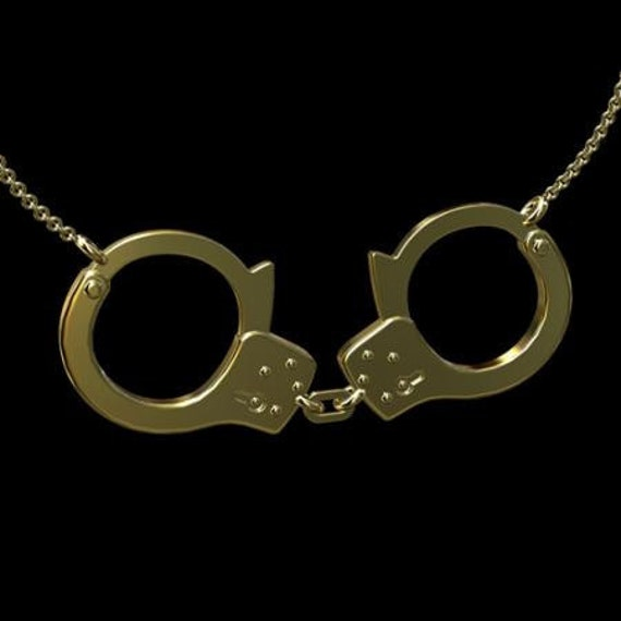Handcuffs Pendant, Yellow Gold Police Handcuffs Necklace, Gold Handcuffs With Cable Chain, Lobster Clasp Handcuffs Necklace