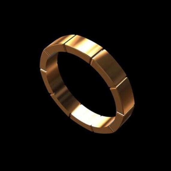 Men's Designer Solid 14K Pink Gold Wedding Band Ring 4mm Wide