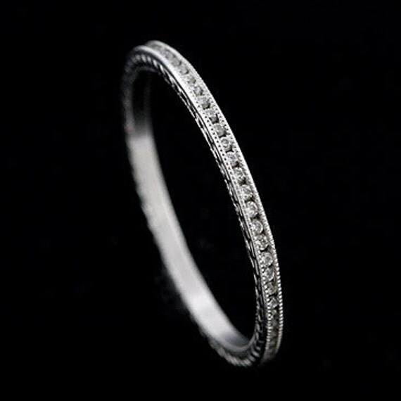 Platinum Antique Style Diamond Stackable Eternity Ring Band 1.4mm Wide