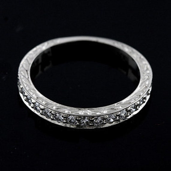 Engraved Art Deco Style Half Way Diamond 14k White Gold Wedding Band Ring 2.6 mm wide