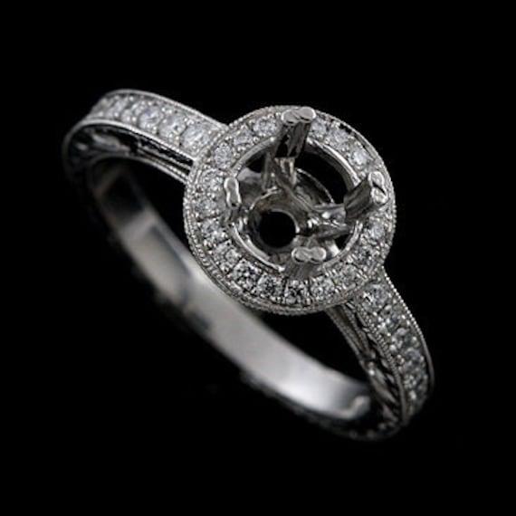 Vintage Style Halo Engraved Platinum Engagement Ring Mounting