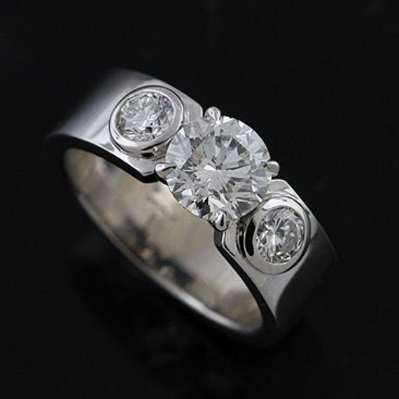14K White Gold Bezel Set Diamond Modern Style Engagement Ring Mounting