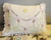 Embroidered Pillow From Vintage Linens White with Bachelor Buttons