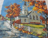 Vintage 1975 Calendar Towel Church with Trees in Fall Color