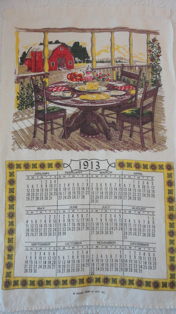 RESERVED for bjkeel1 - Vintage 1913 Calendar Towel from Hickory Farms Reproduction