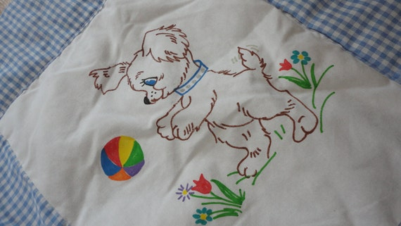 Vintage Baby Quilt Blanket Dogs Puppies Blue Gingham Boy Painted