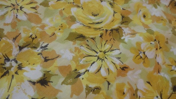 Vintage Yellow Floral Twin Sheet Flat Top Sheet by Springmaid Muslin -  Made in USA