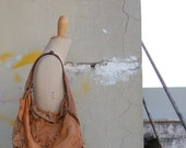 Handmade cognac shopping bag with Italian leather and wax yarn