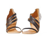High heels handmade black and white fan leather sandals