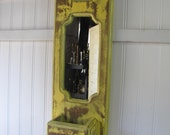 Vintage Wooden Mirrored Shabby Chic Yellow Wall Pocket