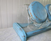 Vintage Glass Aqua Candy Store Canister Jar Set
