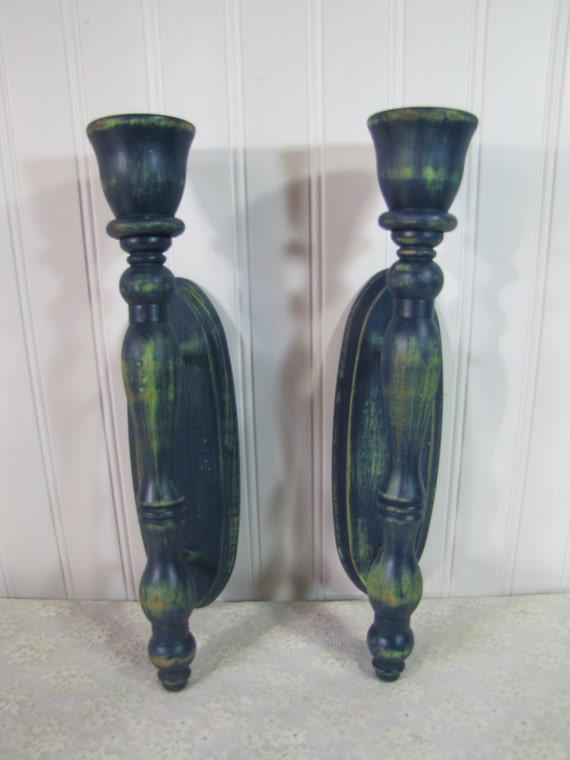 Reserved for Jessica  Indigo Blue and Apple Green Vintage Wooden Candle Sconces clearance sale