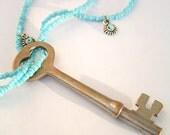 Turquoise Celebration Antique Skeleton Key Necklace