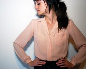 Vtg 70s Dusty Rose Light Pink Sheer L/S Pearl Buttons Blouse