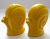 Yellow Fiesta Snails Vintage Japan Salt and Pepper Shakers 1970's Art Deco Snail Set