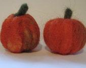 Needlefelted Pumpkins - Set of 2