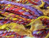 Renaissance - Romney wool  handspun art yarn  - 30 yards 3.5 oz  2-ply bulky - purple yellow red - festive bright colors