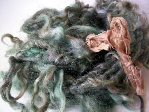 Mermaid's Tresses -  Lincoln Longwool  tailspun yarn - soft teal locks - eternity scarf or crafting embellishment