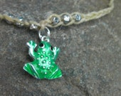 Scented Hemp Cord Bracelet with Frog Charm