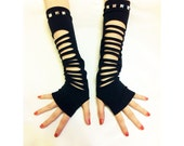 "Gothic KERA PUNK BLACK 14"" arm warmers fingerless gloves Iron bead Costume Party"