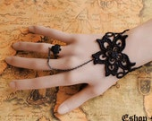 Victorian Gothic Lolita BLACK lace rose sakura BRACELET w chain n RING Costume Party ,br6