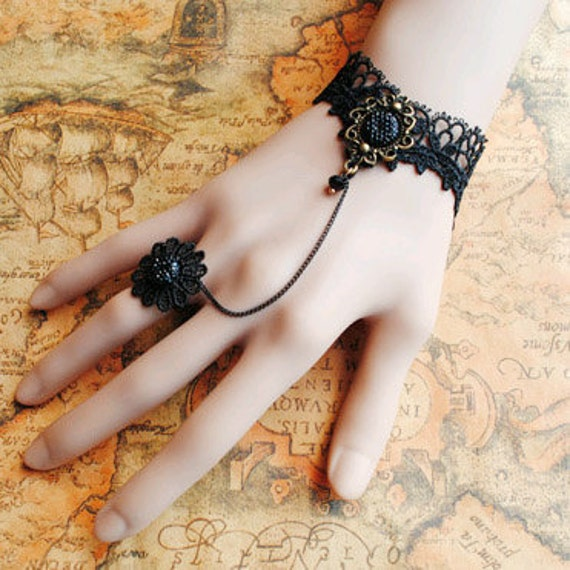Gothic Victorian Lolita BLACK LACE bracelet BLACK flower w chain n flower ring Costume Party Vampire Style Black Friday  Cyber Monday