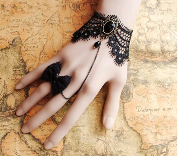 Gothic Victorian Lolita BLACK LACE bracelet w chain n BOW butterfly bead ring Costume Party ,br3