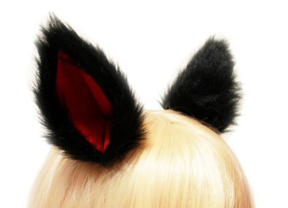 BLACK inner RED long fur 9 CM Kitty Wolf Cat Ear elf Gothic Hair Clip Cosplay Costumes Party Wild Vampire Black Friday Cyber Monday