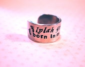 Forever in my Heart Hand Stamped Cuff Ring with Baby Feet