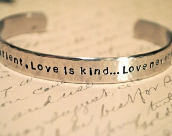 Love is Patient, Love is Kind...Love Never Ends Secret Message Hand Stamped Bracelet- Personalized Bracelet