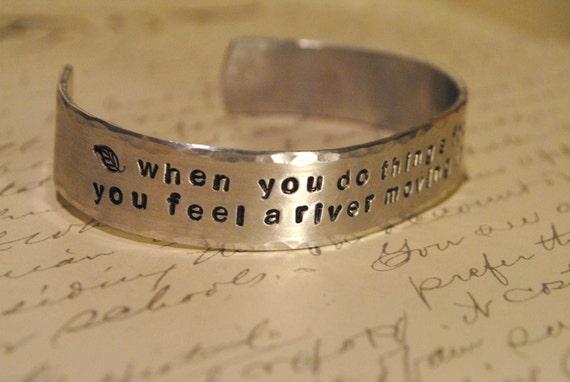 Hand Stamped Custom Cuff Bracelet 'Rumi ' 'Jane Eyre' 'Shakespeare' Literary Quotes