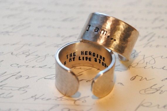I am...The Heroine in my life Story Custom Secret Affirmation Cuff Ring