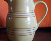 Cute Vintage Yellow Ware by Over and Back (American) Pitcher (101G108B)