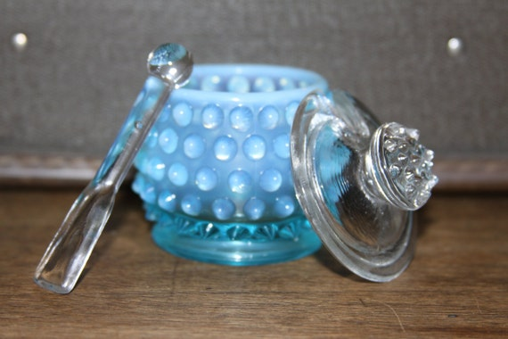 Fenton Nobnail Blue Opalescant Jam Jar with Clear Lid and Spoon (101G119)