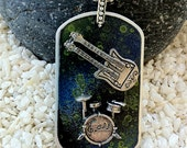 Hand Painted Dog Tag Necklace--- Drums and Guitar-- (style TT1007)--FREE SHIPPING--