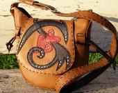 Leather handmade handbag, original, tri-colored, light brown black and red,